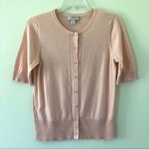 Ann Taylor Loft Peach Short-Sleeved Cardigan | M